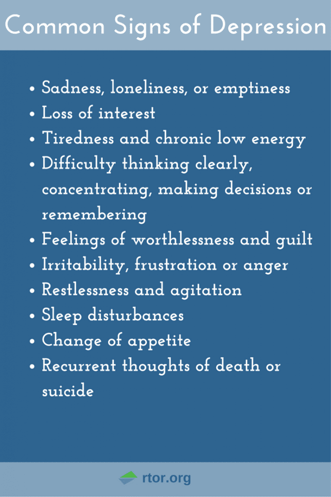 an analysis of the symptoms of depression including persistent sadness