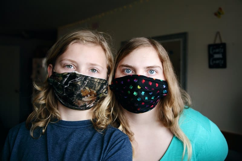 mother and daughter face masks