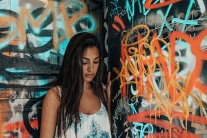 oung woman of color with graffiti