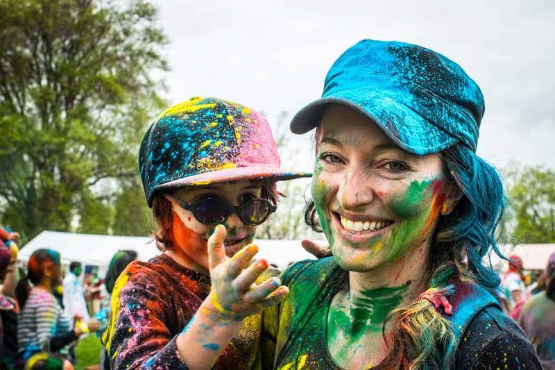 mother and child with painted faces