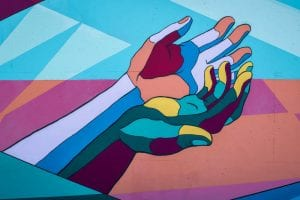 colorful hands mural
