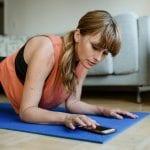 woman doing home yoga