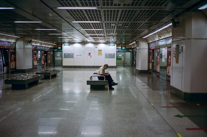 lone man in terminal