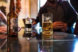 alcoholic drinks on bartop