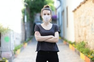 woman in black shirt and mask